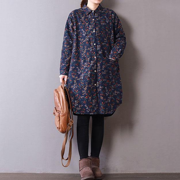 top quality blue floral spring shirt dresses plus size clothing knee thick dress Turn-down Collar clothing Button shirt dresses