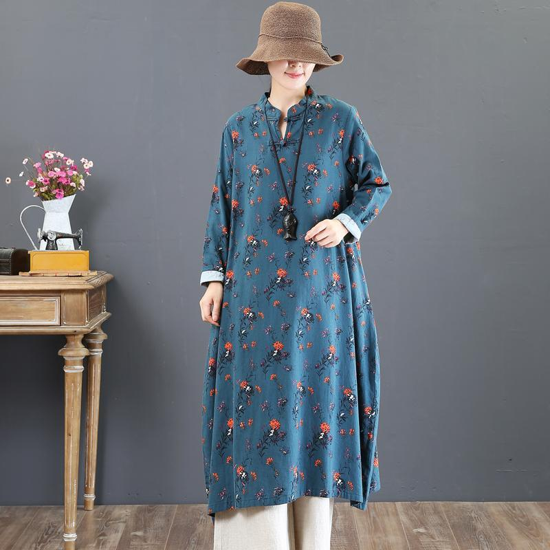 top quality blue prints fall dress plus size stand collar traveling dress women Chinese Button gown