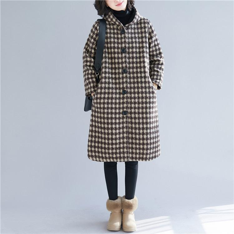 top quality brown Plaid Woolen Coats oversized hooded Coats