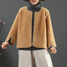 Load image into Gallery viewer, top quality brown woolen outwear Loose fitting medium length coat side open sleeve winter outwear