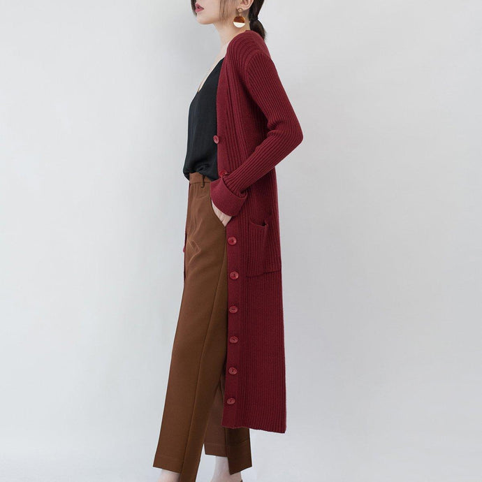 top quality burgundy knit coat casual V neck slim Wool Coat top quality pockets knitted cardigan long jackets