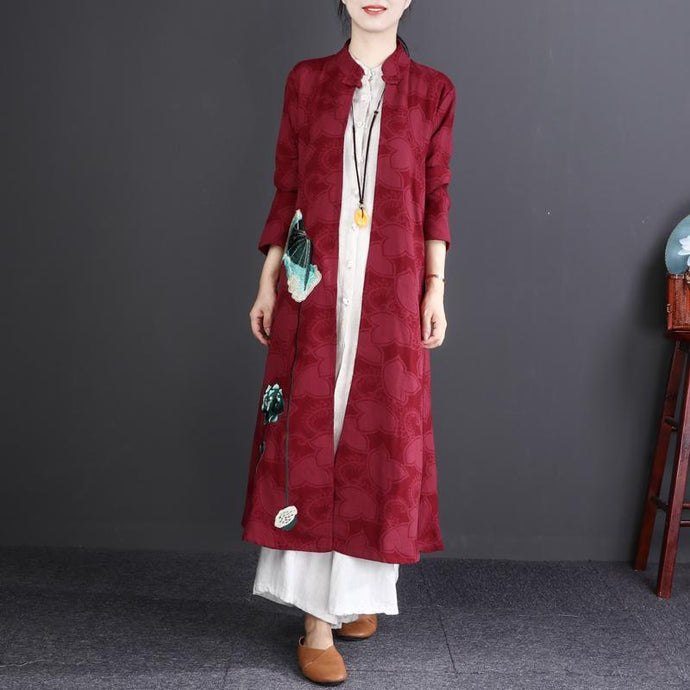 top quality burgundy embroidery cotton linen maxi trench coat plus size Stand traveling clothing New long sleeve cardigans