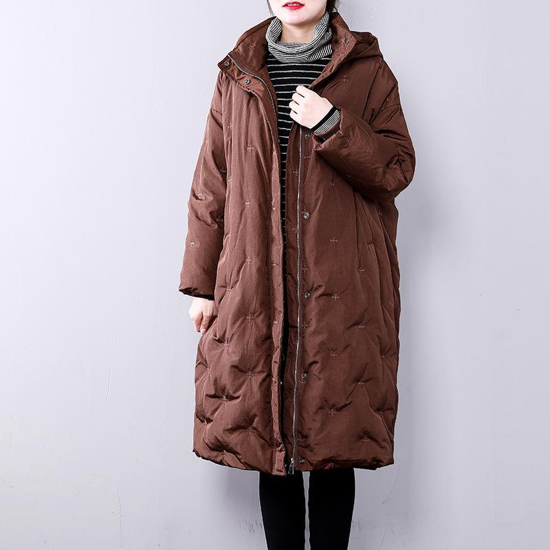 chocolate warm winter coat plus size hoodedYZ-2018111413