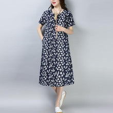 Load image into Gallery viewer, top quality cotton blended knee dress plus size clothing Women Casual Printed Short Sleeve Navy Blue Dress
