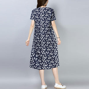 top quality cotton blended knee dress plus size clothing Women Casual Printed Short Sleeve Navy Blue Dress