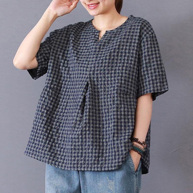 top quality cotton blended tops casual Women Casual Summer Lattice Short Sleeve Navy Blue Tops