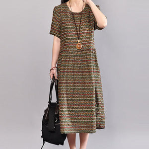 top quality cotton dresses oversize Women Retro Printed Cotton Short Sleeve Pullover Dress