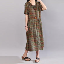 Load image into Gallery viewer, top quality cotton dresses oversize Women Retro Printed Cotton Short Sleeve Pullover Dress