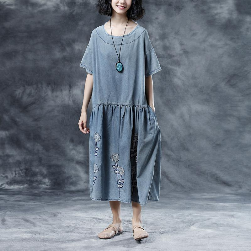 top quality cotton dresses plus size Casual Embroidery Loose Summer Short Sleeve Blue Women Dress