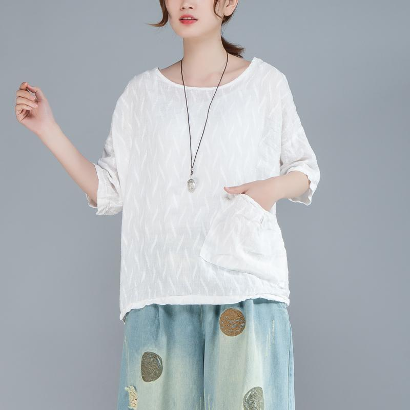 top quality cotton shirts oversize Women Plain White Cotton Linen 12 Sleeve Loose Tops