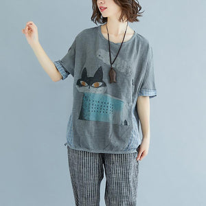 top quality cotton shirts plus size Summer Plaid Short Sleeve High-low Hem Gray Blouse