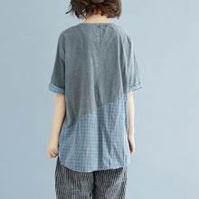 Load image into Gallery viewer, top quality cotton shirts plus size Summer Plaid Short Sleeve High-low Hem Gray Blouse