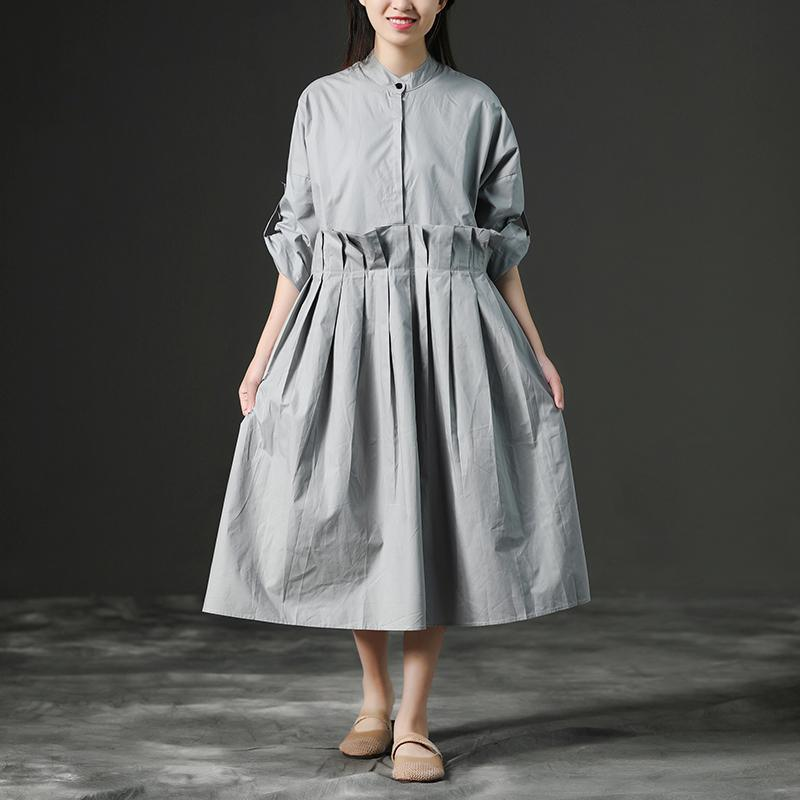 top quality cotton sundress trendy plus size Loose Gray Long Cotton Summer Pleaded Dress