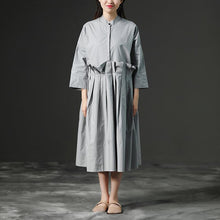 Load image into Gallery viewer, top quality cotton sundress trendy plus size Loose Gray Long Cotton Summer Pleaded Dress