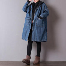Load image into Gallery viewer, top quality denim blue womens plus size clothing hooded winter jacket thick pockets zippered winter outwear