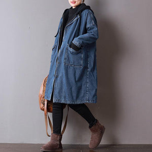 top quality denim blue womens plus size clothing hooded winter jacket thick pockets zippered winter outwear