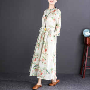 top quality floral linen maxi dress oversized O neck tie waist caftans top quality long sleeve large hem maxi dresses