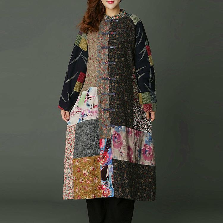 top quality floral patchwork long Loose fitting stand collar fall dresses 2018 A line skirts asymmetrical design caftans