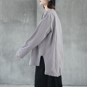 top quality gray  natural linen t shirt casual traveling blouse Fine side open v neck cotton clothing