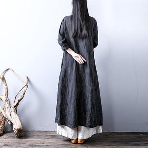 top quality gray blue striped linen caftans plus size long sleeve linen gown Fine big hem maxi dresses