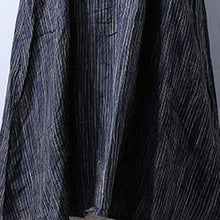 Laden Sie das Bild in den Galerie-Viewer, top quality gray blue striped linen caftans plus size long sleeve linen gown Fine big hem maxi dresses