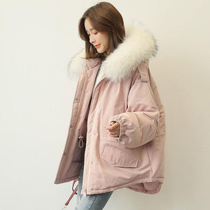 top quality gray pink warm winter coat plus size clothing faux fur collar womens parka elastic waist coats