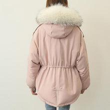 Load image into Gallery viewer, top quality gray pink warm winter coat plus size clothing faux fur collar womens parka elastic waist coats