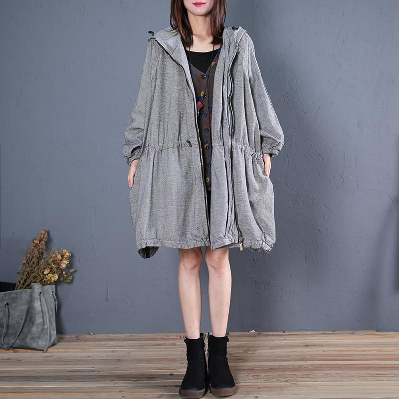 top quality gray plaid coats plus size winter coat fall outwear hooded