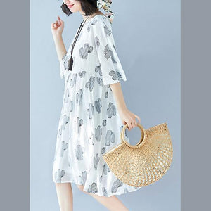 top quality gray print cotton linen dresses Loose fitting women half sleeve baggy dresses v neck cotton linen clothing dress