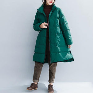 top quality green cotton overcoat trendy plus size stand collar zippered top thick quality pockets cotton coats