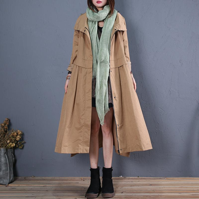 top quality khaki Coats plus size long coats fall outwear side open