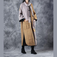 Laden Sie das Bild in den Galerie-Viewer, top quality khaki Wool Coat casual o neck pockets Fashion patchwork side open long coats
