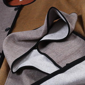 top quality khaki Wool Coat casual o neck pockets Fashion patchwork side open long coats