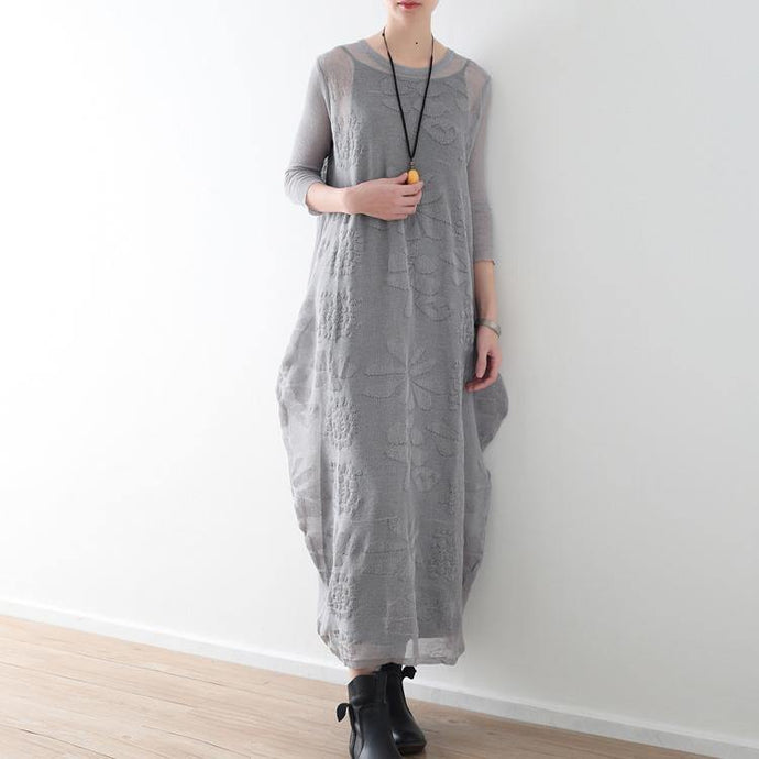 top quality light gray long cotton linen dresses oversize O neck Jacquard traveling clothing casual two-pieces kaftans