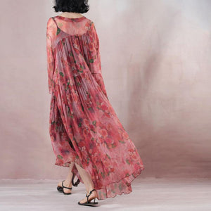 top quality light red silk dress gown print wrinkled drawstring maxi dress