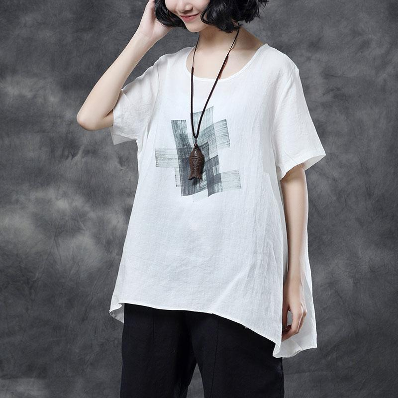 top quality linen blouse Loose fitting Women Short Sleeve White Summer Casual High-low Hem Tops