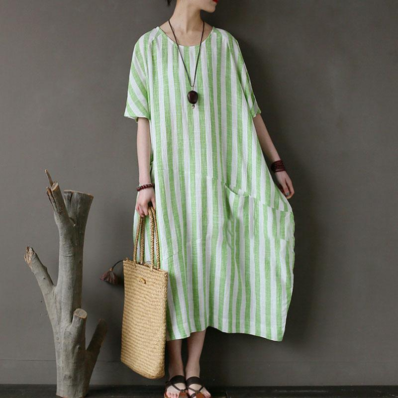 top quality linen cotton sundress trendy plus size Retro Loose Round Neck Short Sleeve Green Stripe Dress