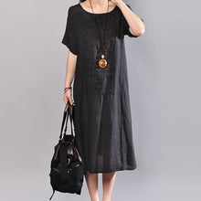 Load image into Gallery viewer, top quality linen shift dresses oversize Women Short Sleeve Embroidery Pure Color Flax Dress