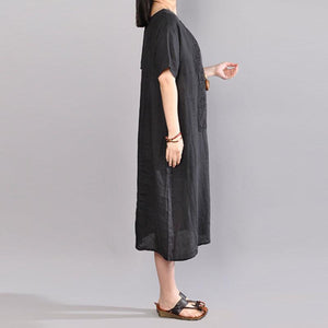 top quality linen shift dresses oversize Women Short Sleeve Embroidery Pure Color Flax Dress