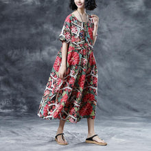 Load image into Gallery viewer, top quality linen summer dress oversized Floral Summer Short Sleeve Casual Round Neck Long Dress