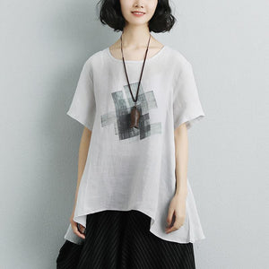 top quality linen tops plus size Women Short Sleeve Gray Summer Casual High-low Hem Tops