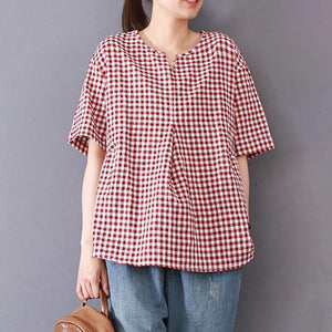 top quality natural cotton blended t shirt oversized Women Casual Summer Lattice Short Sleeve Red Tops
