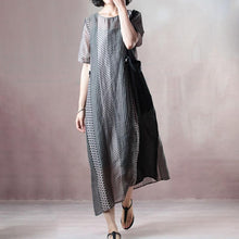 Load image into Gallery viewer, top quality natural silk linen dress stylish Loose Silky Linen Short Sleeve Dot Summer Long Casual Dress