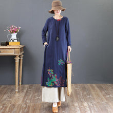 Load image into Gallery viewer, top quality navy prints linen dresses plus size traveling dress embroidery vintage o neck natural linen dress