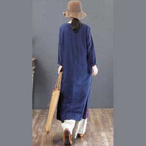 top quality navy prints linen dresses plus size traveling dress embroidery vintage o neck natural linen dress