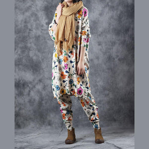 top quality nude print pullover Loose fitting O neck two pieces Fine side open top casual trousers