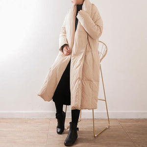 top quality nude quilted coat Loose fitting V neck thick down jacket top quality tie waist pockets coats