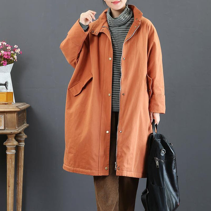 top quality orange red overcoat plus size medium length jackets zippered