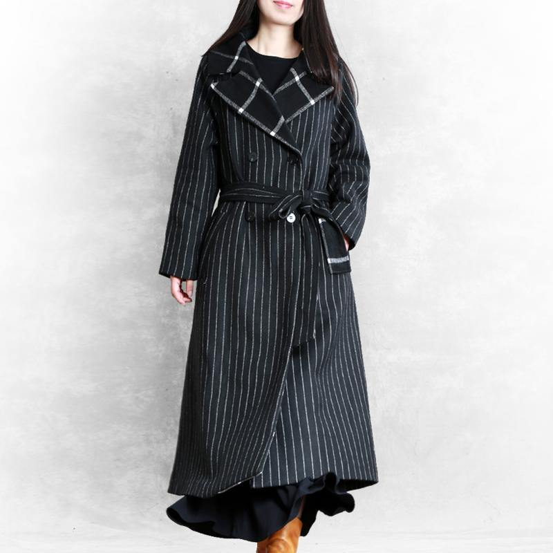 top quality oversized trench coat black striped Notched patchwork wool coat