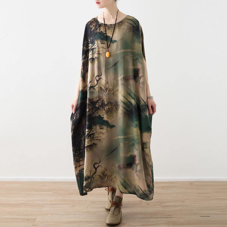 top quality prints chiffon dresses oversize o neck caftans Fine short sleeve chiffon caftans